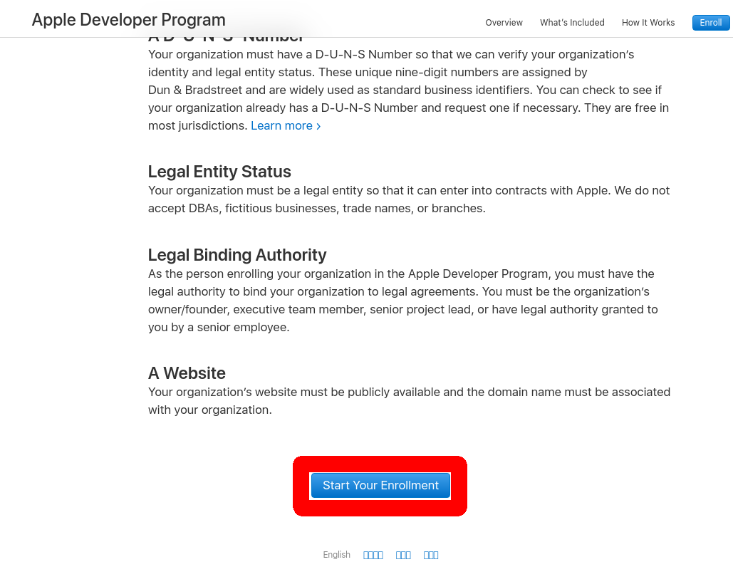 Start Enroll Ios Itunes Connect